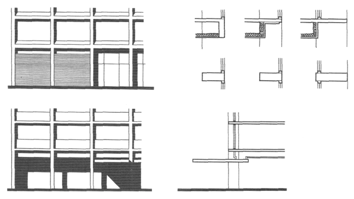 Выраженный каркас. Пролеты между колоннами. Архитектура многоэтажного жилого дома. Медотология проектирования. Проектирование жилых зданий